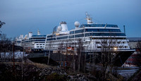 because of the Covid 5 Cruise liners moored at King George V Dock, Glasgow unable to travel the world